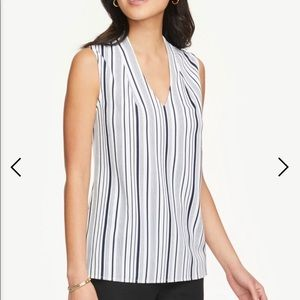 Striped Pleated V-Neck Shell